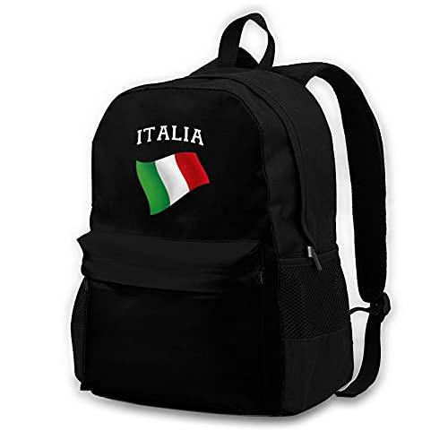 Mochila para portátil para adultos, ligera, personalizada, colorida, unisex, para fin de semana, senderismo, viaje, Italia, Italia, bandera italiana