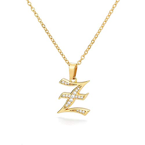 English Letter Initial A-Z Golden Necklaces For Women Jewelry Zircon Ancient Chains Pendant Charm Stainless Steel Z