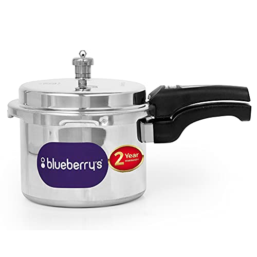 Blueberry's Aluminum Pressure Cooker 5 Liter, ISI Certified Induction Base & Gas Stove Compactable, Made In INDIA (SiIver) – BPC 1111