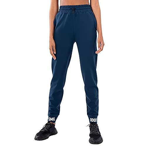 SMILODOX Damen Jogginghose Marley - Lange Hose im Loose fit mit high Waist Bund und Tunnelzug, Größe:L, Color:Dunkel Blau