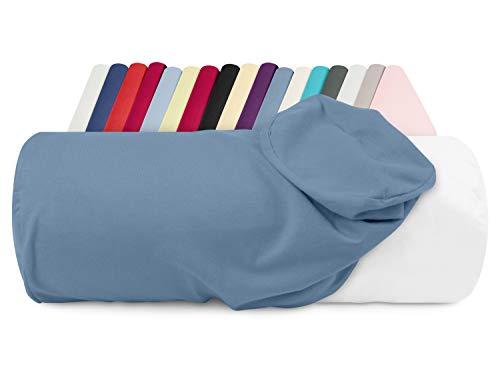 npluseins Jersey-Kissenhülle für Nackenrollen in 17 Farben - 100% Mako-Baumwolle - Einheitsgröße ca. 40 x 15 cm, Bezug in stahlblau