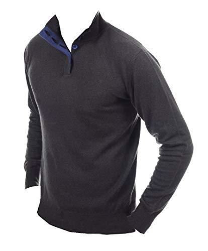 Balldiri premium kasjmier heren pullover 2 draads knoppen antraciet-kobaltblauw S