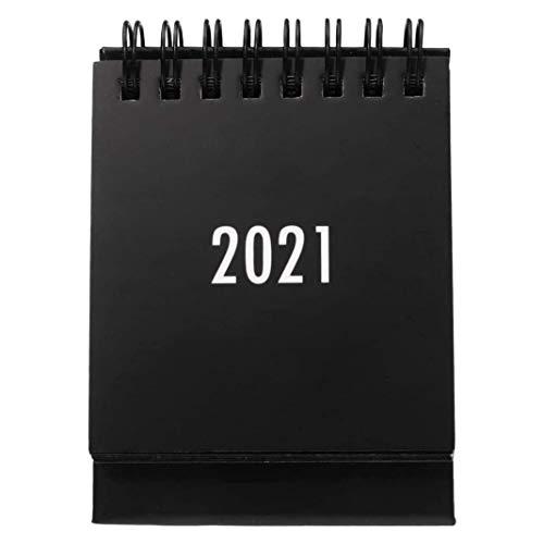 Jaimenalin Calendario de Escritorio de 2020 a 2021 Calendario Mensual Abatible de Escritorio Adecuado para la Escuela, la Oficina la Casa (Negro)