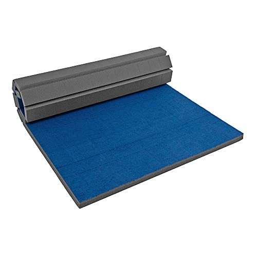 IncStores Cheer Mat   Rollout Gymnastics Mat with a Grippy Gym Carpet Top   Portable Cheerleading Gym Mats for Home Workout and Practice   Blue, 3' x 6' x 2'