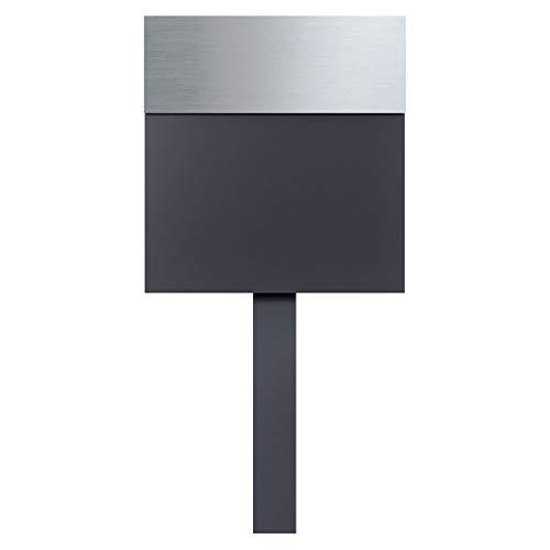 Stand-Briefkasten anthrazit freistehend (RAL 7016) MOCAVI SBox 580 Postkasten Edelstahl-Deckel V4A Design Briefkasten mit Pfosten (einbetonieren) freistehend