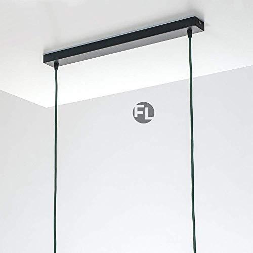 Flairlux Baldachin rechteckig Lampe 2 flammig schwarz Metall Lampenbaldachin rechteckig zum Bau von Deckenleuchten | Lampe für Esstisch | Lampenaufhängung Lampenzubehör DIY | L 80 x B 5 x H 2,5
