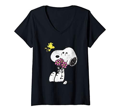 Womens Peanuts Snoopy Woodstock Flowers V-Neck T-Shirt
