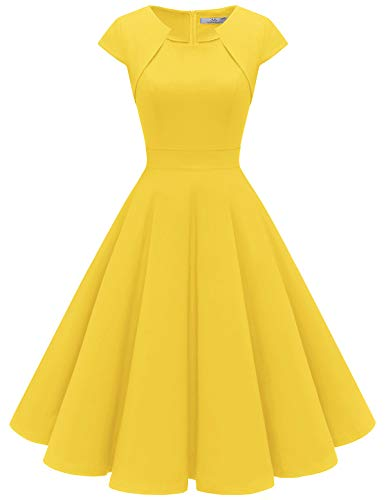 Homrain Donne Anni Cinquanta Vintage A-Line cap Manica Cocktail Swing Partito Vestito Yellow XS