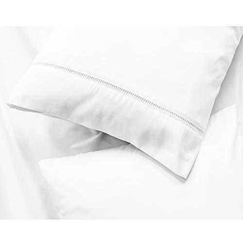 ViscoSoft - Juego de 2 fundas de almohada (100% microfibra, ultra suave, lavable a máquina y fácil de cuidar, antiarrugas, antiácaros e hipoalergénica), blanco, 50_x_70_cm