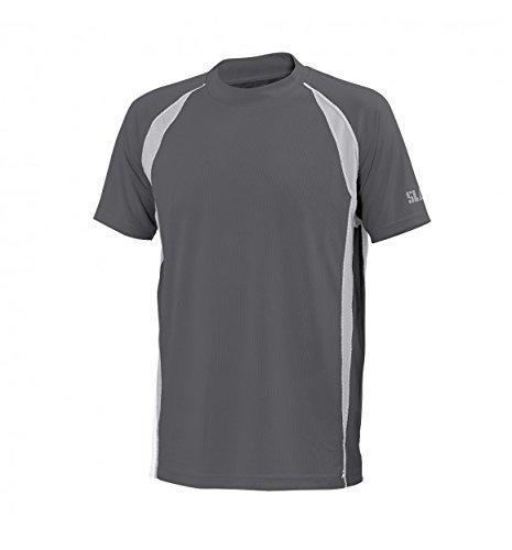 SLAM Man Superyacht Collection T-shirt à manches courtes en bambou pour homme 140 g Col rond Manches courtes Col.739 A Acier technique avec inserts gris Taille S