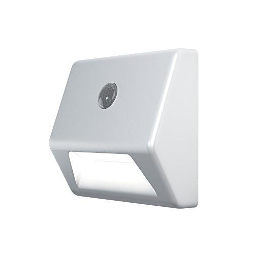 OSRAM - Veilleuse LED Nightlux Stair Blanc - Capteur de Mouvement et de Luminosité Intégrés - Fonctionne à Pile - Etanche IP54 - Blanc Froid 4000K
