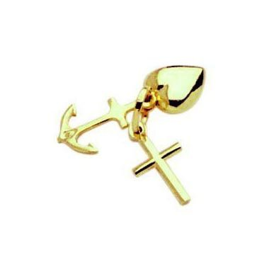 14K Yellow Gold Dangly Heart Cross and Anchor Charm/Pendant 18mm (211002)