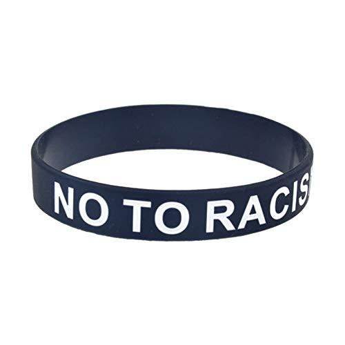 HSJ 10 Unids Nosotros Todos No Al Racismo Anti-Racismo Pulsera De Silicona Las Vidas Negras Importan Perfectamente Inspirar Fístness, Baloncesto, Búsqueda De Deportes, Ejercicio Y Tareas,Negro