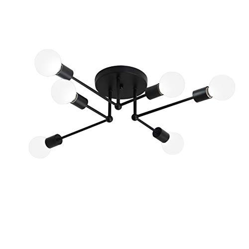 ZQY Art Deco Black Metal Satellitentechnik Halb Embedded-Deckenleuchte mit 6 E26 Lampenfassungen 240W Painted Oberflächenbehandlung
