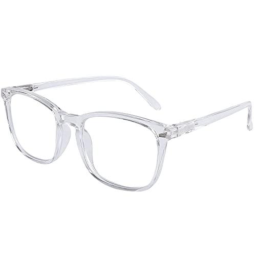 DOOVIC Blaulichtfilter Lesebrille 1,0 - Transparent/Eckig Rahmen Große Gläser Computerbrille Brille mit Sehstärke für Herren/Damen