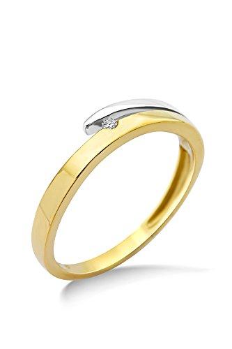 Miore Anillo de Mujer en oro bicolor de 9 quilates con diamante 0.02 ct.