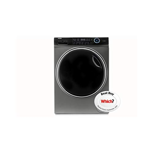 Haier HWD80-B14979S Freestanding Washer Dryer, Direct Motion and LED Display, 1400RPM, 8kg/5kg load, Graphite
