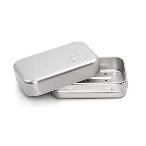 ASAVO Seifendose aus Metall, 9,5 x 6,0 x 3,1 cm (innen), rostfrei, für Reisen, Seifenbox, Seifenbehälter, Blechdose, Metalldose