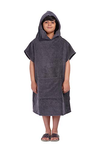 ALLEN & MATE Hooded Towel Poncho for Kids, Premium Cotton Changing Robe for Beach, Swimming, Surfing, Bathing, Watersports, Indoor & Outdoor Activities