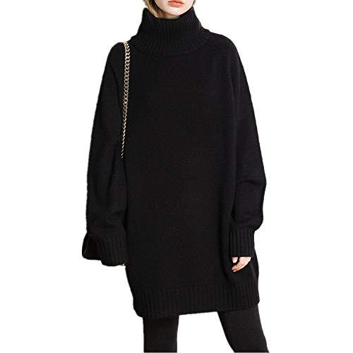 Wenwenma Der Neue Cashmere-Pullover für Damen - Langer Rollkragenpullover - Strickpullover (Schwarz, Medium)