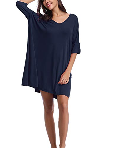 Abollria Damen Nachthemd Loose Fit Nachtwäsche Nachtkleid Kurz Baumwolle Schlafshirt O-Ausschnitt Rock Schlanke Nachtwäsche Sleepshirt Kurzarm für Sommer, Marine, M