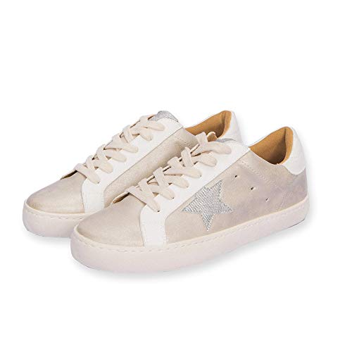 M&Z SKY Women's Lace up Low top Star Sneakers Casual Shoes Junior Girls Sneakers (Beige, 7.5)
