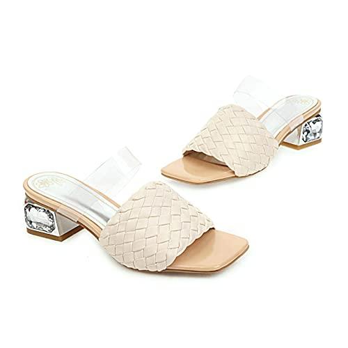 Dames doorzichtige sandalen met bandjes, halfhoge hakken, strass vierkante teen, muiltjes, comfortabele gevlochten band, pantoffels, slippers