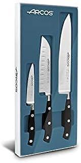 Arcos 807710 Juego Cuchillos Cocina 3 piezas, acero_inoxidable, negro