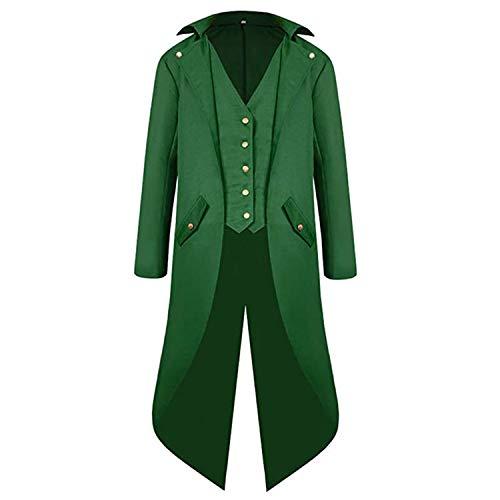 Boys Medieval Tailcoat Jacket Halloween Costumes, Gothic Steampunk Vintage Victorian Frock High Collar Uniform Coat(Green,Medium(US8-10))