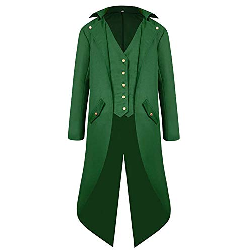 Mens Gothic Medieval Tailcoat Jacket, Steampunk Vintage Victorian Frock High Collar Coat (L, Green)