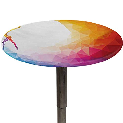 Elasticized Tablecloth Sports Table Cloth Wrinkle Free Gymnastics Girl Gymnast Portrait Colored Geometric Digital Shapes Modern Olympics for Holiday Dinner Multicolor Diameter 64'
