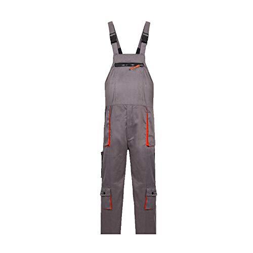 SENRISE - Pantalones de trabajo, babero y soporte con rodillera con múltiples bolsillos para hombre, ropa de trabajo Dungarees (gris - XL tamaño)