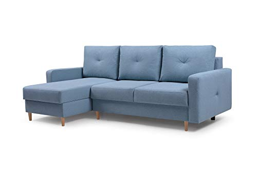 Ecksofa mit Schlaffunktion Eckcouch mit 2 X Bettkasten Sofa Couch L-Form Polsterecke Madison (Blau, Ecksofa Links)