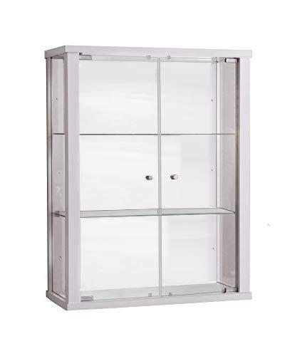 K-Möbel Glasvitrine in Weiss (80x60x25 cm) mit 2 höhenverstellbaren Glasböden aus ESG; perfekt für Sammler;