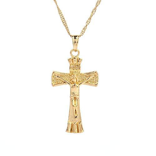 Cruz colgante collar mujeres INRI Jesús crucifijo cristianismo 24 K Color oro Jesús de Nazaret joyería-oro-color