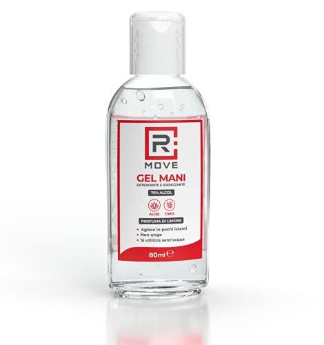 RMOVE gel igienizzante mani 70% ALCOL Gel mani profumato al limone arricchito con olii essenziali di Aloe e Timo, Gel tascabile da viaggio (6,80 ml)
