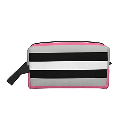Bolsa de maquillaje para cosméticos de moda, bolsa de viaje con diseño de línea de tendencia, color rojo, blanco y negro, grande, organizador de maquillaje para mujer