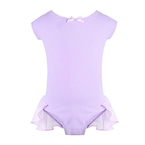 Freebily Kids Girls Chiffon Raglan Cap Sleeves Gymnastics Ballet Active Leotard Reffled Skirted for Ballerina Dance wear Lavender 2-3