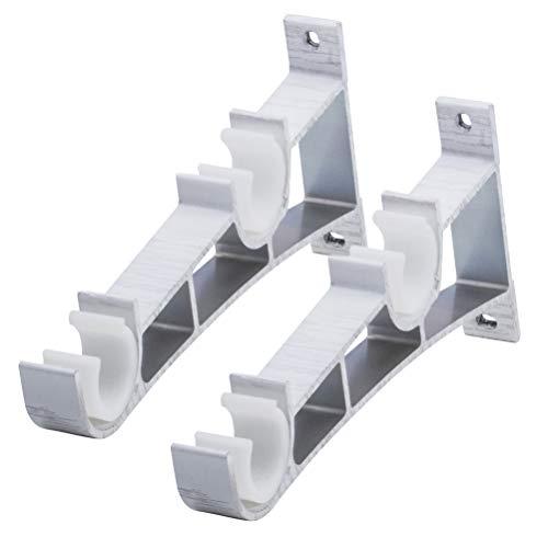 VOSAREA Soporte para Barra de Cortina, 2 Piezas Accesorios para Cortina Aleación de Aluminio Doble Soporte Tipo de Pescado Código Doble (Blanco)