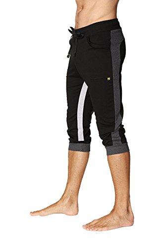 4-rth Men's Ultra-Flex Tri-Color Cuffed Yoga Pant (X-Large, Black w/Charcoal & Grey)