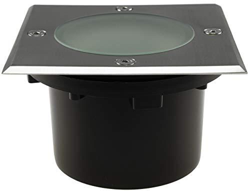 Boden Einbauleuchte GX53 Fassung Flach 12x12x7cm Eckig IP65 Befahrbar und Trittfest mit Durchgang