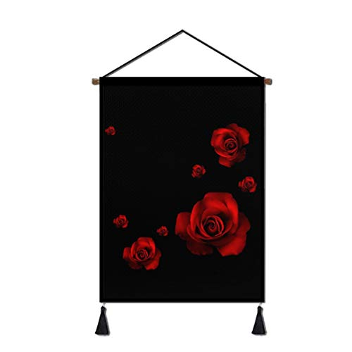 BUN Hanging Poster Wall Art Decor, Red Rose Linen Canvas Prints Artwork Home Decoration for Living Room Bedroom Business Office, Ready to Hang, 18 X 26 Inch