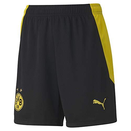 PUMA BVB Shorts Replica Jr, Pantaloncini Unisex-Adulto, Black-Cyber Yellow, 14