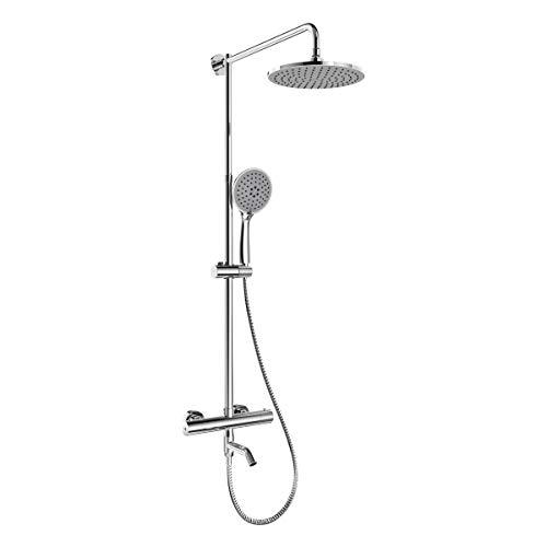 EMKE Duschsystem Duscharmatur mit Thermostat Mischer Wasserhahn Regendusche, 5 Strahlarten Handbrause und höhenverstellbare Duschsäule Duschset, 23cm Rund Überkopfbrause, chrom