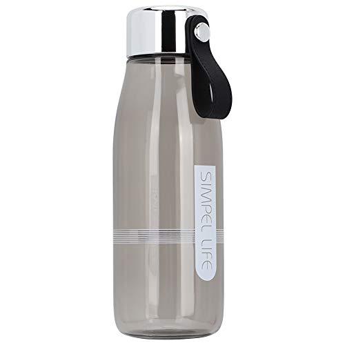 Oumefar Mehrzweck-Wasserflasche 480 ml Stilvoller Trinkbecher mit großer Kapazität, transparent für die Schule zum Wandern(Gray)