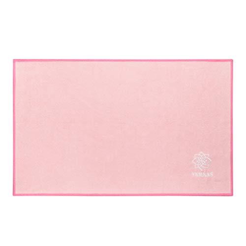 Yamkas Toalla de Microfibra • 61 x 35 cm • Compacta • Ultraligera y de Secado rápido Super Absorbente • Ideal para Yoga Pilates Deportiva • Microfiber Towel • Rosa