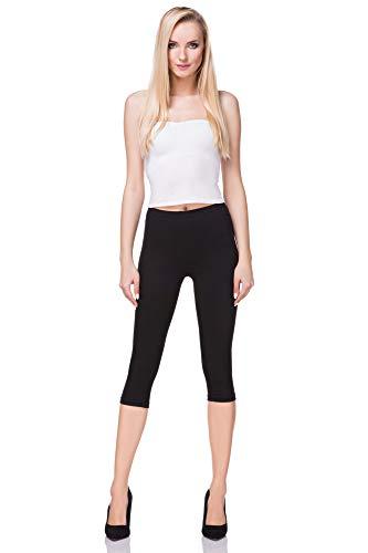 FUTURO FASHION - Leggings mit 3/4-Länge - Baumwolle - extra bequem - Übergrößen - Schwarz - 38 (M)