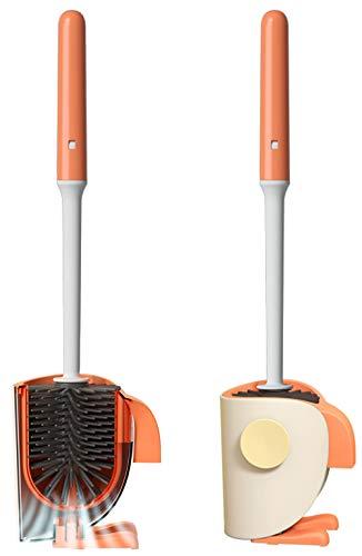 Bingobang WC Bürste mit Halter,Silikon Toilettenbürste Set mit Rutschfestem Langer Stiel klobürste und Schnell Trocknendem Haltersatz für Badezimmer oder Gäste-WC,Wandmontage & Stehen(Orange)
