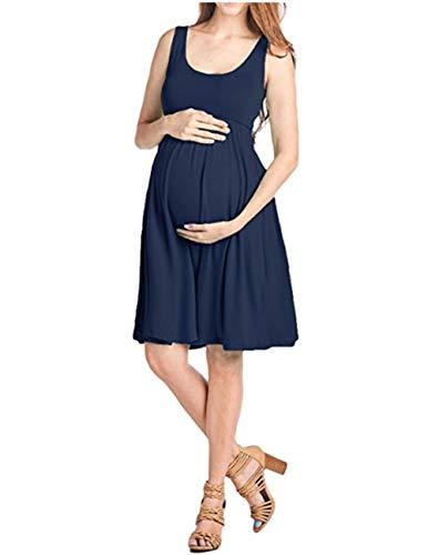 FEIFUSHIDIAN Capuche Femme Gilet Slim Col Rond Robe Femmes Enceintes Mis sur Une Grande Étendue Bloquer Pull-up ( Color : Navy Blue , Size : M )