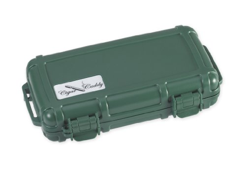 Cigar Caddy 3400 Green 5 Cigar Waterproof Travel Humidor, Country Club Green